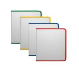 Plastikinis dėklas su užtrauktuku A5+, skaidrus, 4 užtrauktukų spalvos