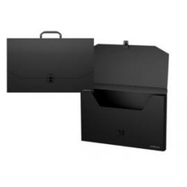 Rankinė dokumentams CLASSIC plastikinė, matmenys 372x255mm su segtuku ir vienu skyriumi juodos spalvos