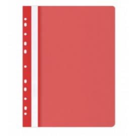 Plastikinis segtuvėlis skaidriu viršeliu, A4+, su perforacija, raudonos sp.