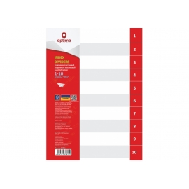 Skiriamieji lapai, OPTIMA, A4, plastikiniai, numeracija 1-10, pilkos sp.