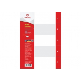 Skiriamieji lapai, OPTIMA, A4, plastikiniai, numeracija 1-5, pilkos sp.