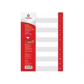 Skiriamieji lapai, OPTIMA, A4, plastikiniai, numeracija 1-12, pilkos sp.