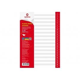 Skiriamieji lapai, OPTIMA, A4, plastikiniai, numeracija 1-31, pilkos sp.