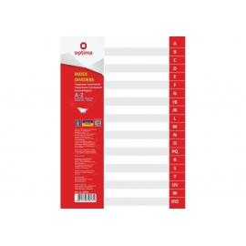 Skiriamieji lapai, OPTIMA, A4, plastikiniai, žymėjimas A-Z, pilkos sp.