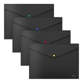 Plastikinis vokas su spaustuku MATT BLACK LINE, ErichKrause, A4, 180 mkr, juodos sp.