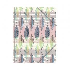 Plastikinis dėklas su guma FLORA, ErichKrause, A4, 550mkr