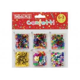 Blizgios dekoracijos CONFETTI, MAXI, įvairių spalvų ir dydžių, 6 pakuotės po 3 g