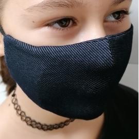 Apsauginė veido kaukė, XS dydis, medžiaginė, džinso spalvos, su kišene filtrui