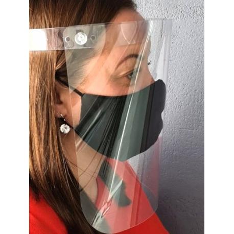 Apsauginis veido skydelis, 500 mikronų plastikas, su reguliuojama užsegimo juostele