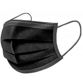 Vienkartinė apsauginė veido kaukė FOHWA, 3-jų sluoksnių, juodos spalvos, 50 vnt.