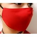 Apsauginė vaikiška veido kaukė, 2-jų sluoksnių, XS dydis, medžiaginė, raudonos sp.