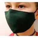 Apsauginė vaikiška veido kaukė, 2-jų sluoksnių, XS dydis, medžiaginė, tamsiai žalios sp.