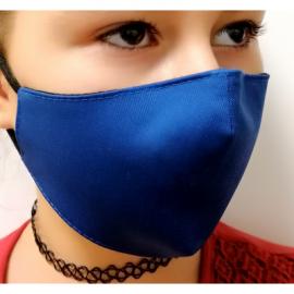 Apsauginė vaikiška veido kaukė, 2-jų sluoksnių, XS dydis, medžiaginė, tamsiai mėlynos sp.