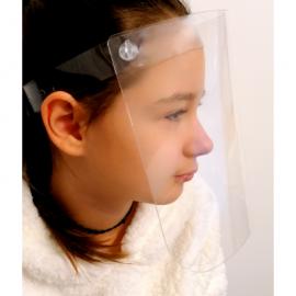 Vaikiškas apsauginis veido skydelis, 500 mikronų plastikas, su reguliuojama užsegimo juostele