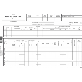 Asmens sąskaita A4, horizontali, 25 vienetai kartoninė kortelė