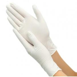 Vienkartinės lateksinės pirštinės SHUR-SKIN, S dydis, baltos sp., be pudros, 100 vnt.