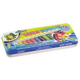 Tempera SUPER, Jolly, 12 spalvų po 7,5ml, metalinėje dėžutėje