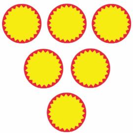 Lipnios etiketės akcijoms, 34x34mm, apvalios, raudonos/geltonos sp.