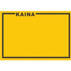 Lipnios etiketės su užrašu KAINA, 25x36mm, oranžinės sp.