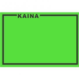 Lipnios etiketės su užrašu KAINA, 25x36mm, žalios sp.