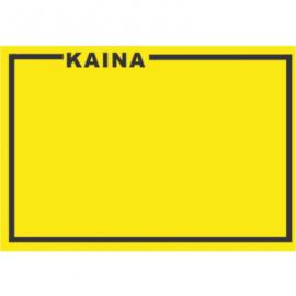 Lipnios etiketės su užrašu KAINA, 25x36mm, geltonos sp.