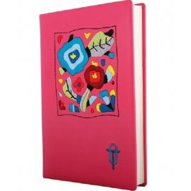 Siuvinėta užrašų knyga, Optima, A5, 160 lapų, linija, rožinės spalvos viršelis, su išsiuvinėtu kvadratu