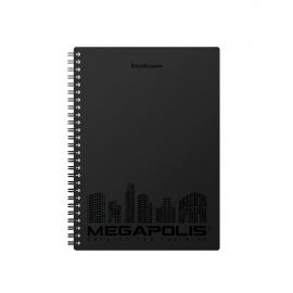 Bloknotas MEGAPOLIS, ErichKrause, A5, 80 lapų, langeliais, 70gsm, plastikinis viršelis, su spirale šone