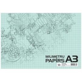 Milimetrinis popierius A3, 20 lapų, ABC Jums