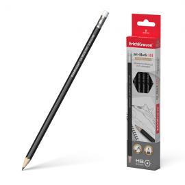 Grafitinis pieštukas JET BLACK 101, ErichKrause, HB, su trintuku