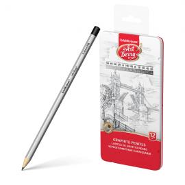 Grafitinių pieštukų rinkinys ARTBERRY, ErichKrause, metalinėje dėžutėje, 5H-5B, 12 pieštukų
