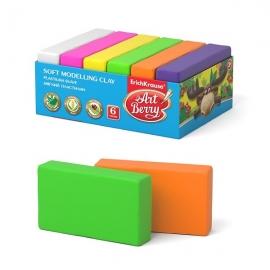 Modelinas 6 spalvos x 35 g. (žalia, oranžinė, rožinė, žydra, geltona, raudona), Art Berry