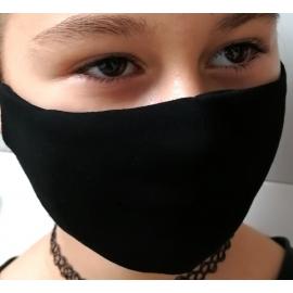 Apsauginė vaikiška veido kaukė, 2-jų sluoksnių, XS dydis, medžiaginė, juodos sp.