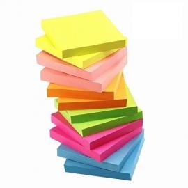 Lipnūs lapeliai užrašams, Optima, 75x75mm, neoninės oranžinės sp.