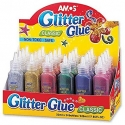 Klijai spalvoti su blizgučiais, AMOS, 6 spalvų, 5,5ml