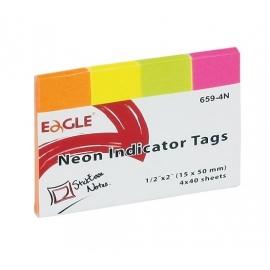 Popieriniai žymekliai-indeksai 659-4N, Eagle, 4 neoninės sp.