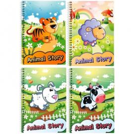 Bloknotas ANIMAL STORY, EconoMix, A6, 48 lapai, langeliais, 60gsm, plastikinis viršelis, su spirale viršuje