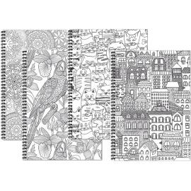 Bloknotas MANDALAS, A4, langeliais, 48 lapai, 70gsm, su spirale šone