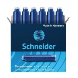 Rašalo kapsulės, Schneider, 6vnt., trumpos, mėlynos spalvos