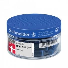Rašalo kapsulės, Schneider, 30vnt., trumpos, mėlynos spalvos