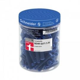 Rašalo kapsulės, Schneider, 100vnt., trumpos, mėlynos spalvos