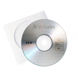 CD-R diskas popieriniame vokelyje, Verbatim, 700MB, 80min, 1vnt.