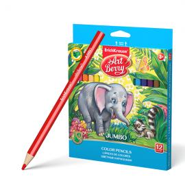 Spalvoti pieštukai JUMBO trumpi, 12 sp. + 3 spalvinimo kortelės, Art Berry