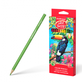 Spalvoti pieštukai ø3 mm., tribriauniai, 24 spalvų, Art Berry