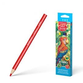 Spalvoti tribriauniai pieštukai JUMBO, ErichKrause, 6 sp.+ drožtukas