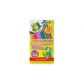 Spalvoti pieštukai 12 sp. 3D metalinėje dėžutėje SUPERSTICKS CLASSIC, Jolly