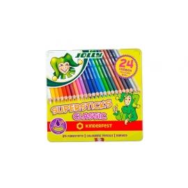 Spalvoti pieštukai 24 sp. 3D metalinėje dėžutėje SUPERSTICKS CLASSIC, Jolly