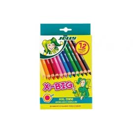 Spalvoti šešiabriauniai pieštukai X-BIG, Jolly, 12 sp.