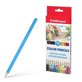 Spalvoti pieštukai, ErichKrause, storis 3mm, šiašiabriauniai, 12 spalvų
