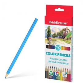 Spalvoti pieštukai, ErichKrause, storis 3mm, tribriauniai, 12 spalvų