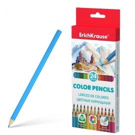 Spalvoti pieštukai, ErichKrause, storis 3mm, tribriauniai, 24 spalvos
